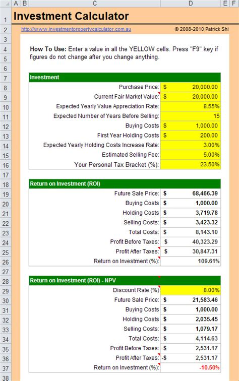 Rate Of Return Spreadsheet by Investment Return Calculator Spreadsheet