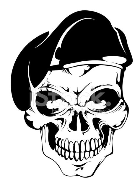 tattoo addict skull with beret stock photos freeimages r