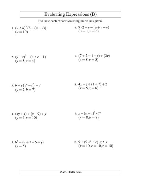 Evaluating Expressions Worksheet by Algebra Worksheet Evaluating Five Step Algebraic