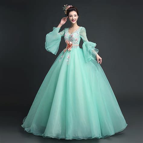 light green dress with sleeves 100 real full ruffled sleeve light green princess medieval