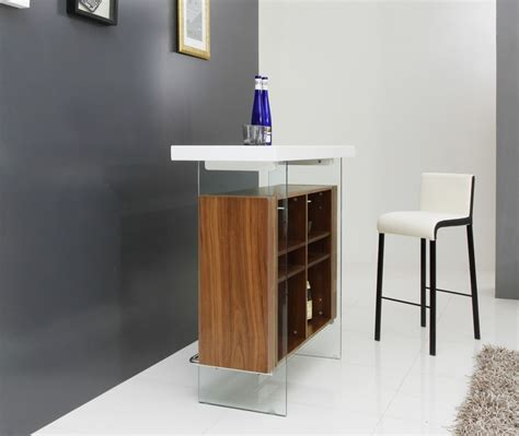 Floating Bar Table with Modrest Sven Contemporary White Walnut Floating Bar Table