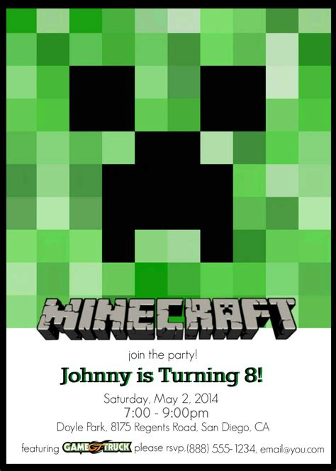 minecraft invitation template make your own custom printable minecraft invitations