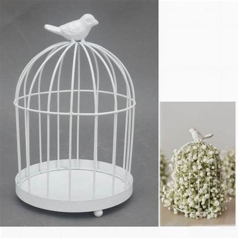 antique decorative small white iron round metal bird cage