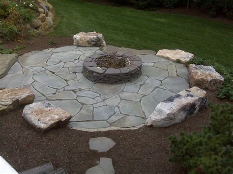 Flagstone Firepit Blue Patio With Pit