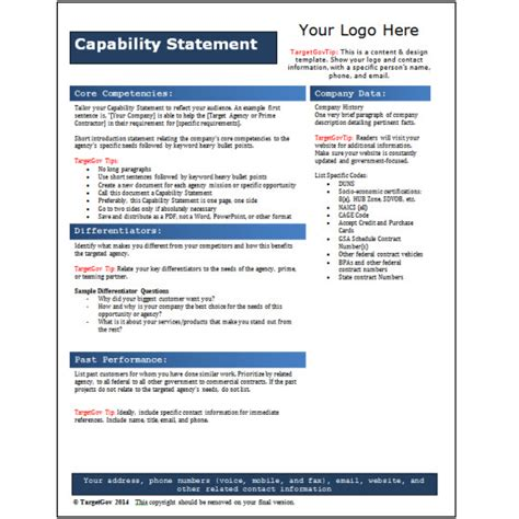 capabilities statement template capability statement editable template blue targetgov