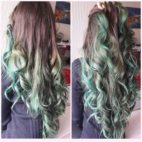 diy beauty from brown hair to bright red hair easy steps brown to pastel green ombre directions alpine green