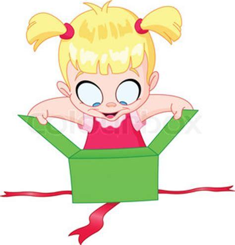 little girl open a green gift box | vector | colourbox