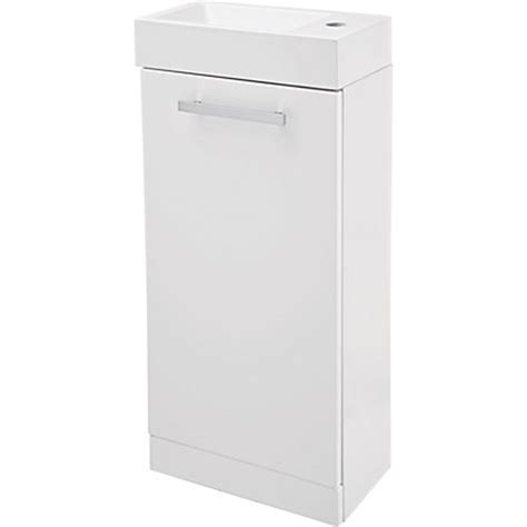 cannock cloakroom 400mm vanity unit and basin white gloss