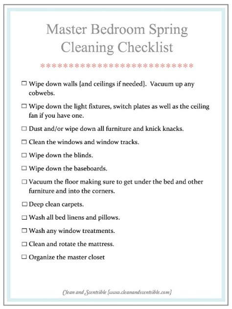 bedroom cleaning checklist how to clean the master bedroom clean and scentsible