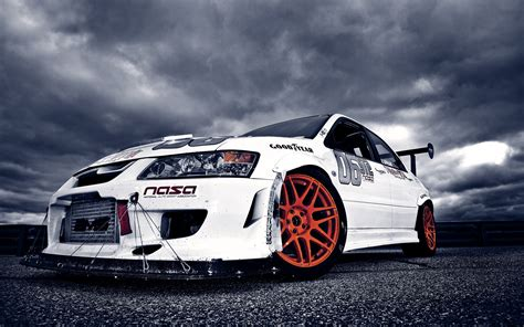 mitsubishi modified wallpaper white modified mitsubishi lancer hd wallpaper cars