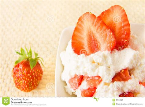 Cottage Cheese Strawberry by Cottage Cheese With Strawberry Stock Image Image 32315521