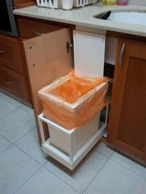 in cabinet trash cans for the kitchen i made this automatic kitchen trash can that opens with