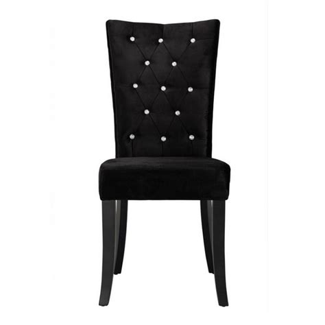 Radiance Set Of 2 Diamante Dining Chair In Black Velvet Fabric Black Fabric Dining Room Chairs