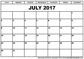 Kalender Juli July 2017 Calendar Printable Template Social Ebuzz