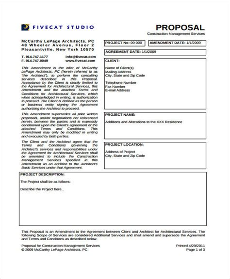 construction project templates 6 free pdf