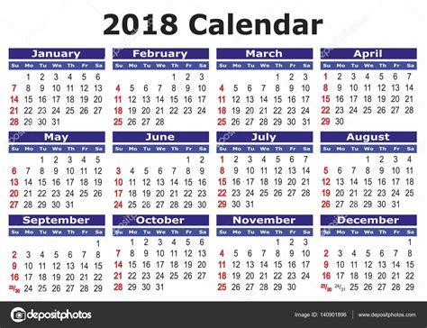 printable calendar 2018 thailand 简单的矢量日历 2018 图库矢量图像 169 alfonsodetomas 140901896