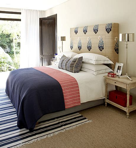 navy and red bedroom breezy bedroom design with burlap fabric upholstered