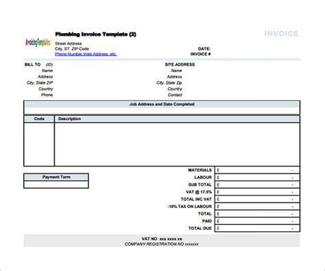 invoice template contractor sle contractor invoice templates 14 free documents