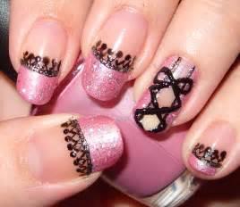 Sharihearts pink amp black corset nail art