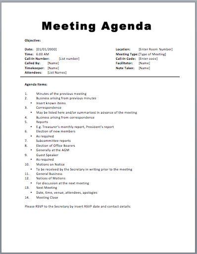20 Meeting Agenda Templates Word Excel Pdf Formats Meeting Agenda Template Free