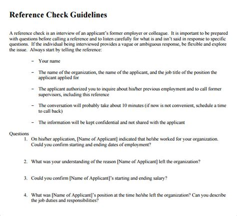 reference questions template sle reference check 9 exles format