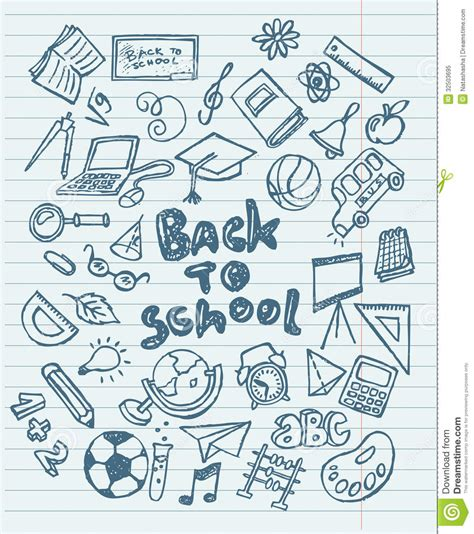 doodlebug academy back to school sketchy doodles stock vector illustration