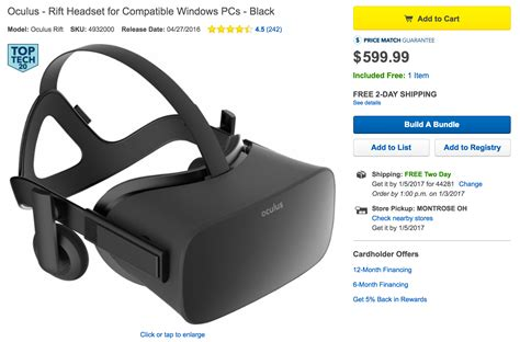 Best Buy Oculus Gift Card - oculus rift vr headset with 150 best buy gift card for 600 shipped 9to5toys