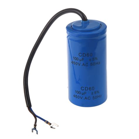 run capacitor small 100uf 450v ac cd60 2 black wire lead motor start run capacitor bn new style u0 ebay