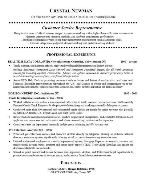 customer service representative sle resume with no experience customer service representative resume