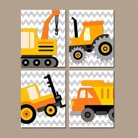 construction prints construction wall art baby boy nursery decor truck wall