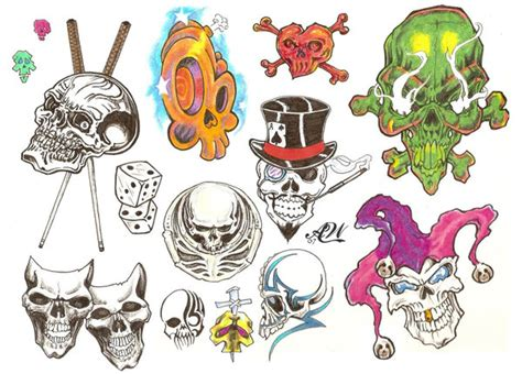tattoo flash of skulls flash page skulls by bthslayr on deviantart