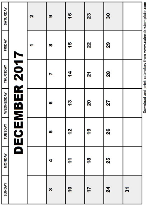 printable calendar december 2017 template december 2017 calendar template