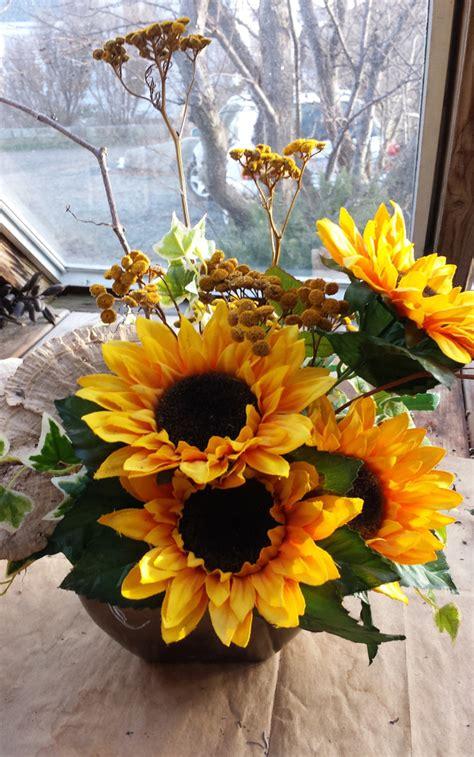 Sunflower Decorations by Sunflower Arrangement Sunflower Decor Tabletop Arrangement