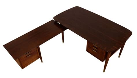 large executive mid century modern walnut l shape desk mid century modern l shaped executive desk modernism