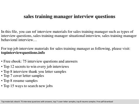 sales manager questions