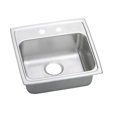 Elkay Sinks Kitchen Elkay Lustertone Drop In Stainless Steel 20 In 2 Single Bowl Kitchen Sink Lrad1919552