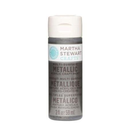 martha stewart crafts 2 oz brushed pewter multi surface metallic acrylic craft paint 32991
