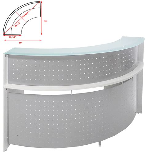 Semi Circular Reception Desk White Semi Circular Glass Top Reception Desk