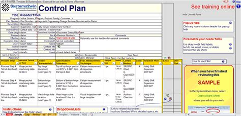 control plan template in excel to minimize variation