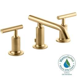 gold bathroom sink faucets kohler purist 8 in widespread 2 handle bathroom faucet in