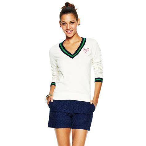 c cotton tennis cricket sweater in green lyst