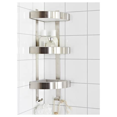 Bath Shower Corner Shelf Wall Grundtal Corner Wall Shelf Unit Stainless Steel 26x58 Cm