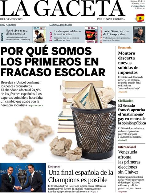 la gaceta de los negocios econom a pol tica sociedad periodico la gaceta 13 4 2013