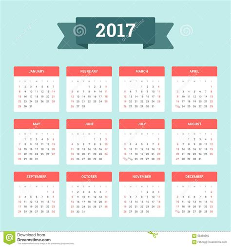 calendar 2017 design calendar 2017 stock vector image of page design