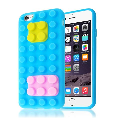Iphone 6 6s Softcase 3d 3d building lego blocks brick soft silicone stand cover for iphone 6 6s