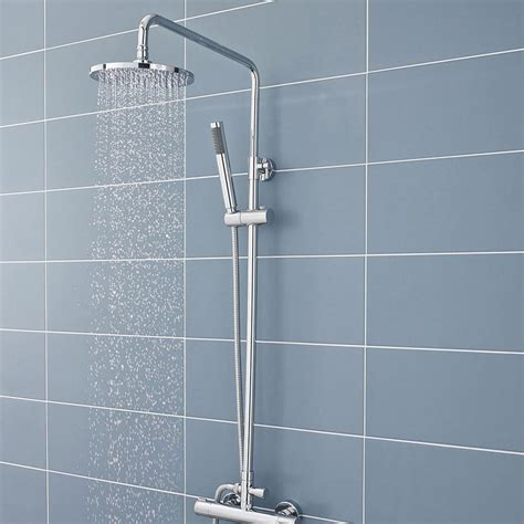 bathroom riser ultra telescopic riser kit with round shower head chrome a3113 at victorian plumbing uk