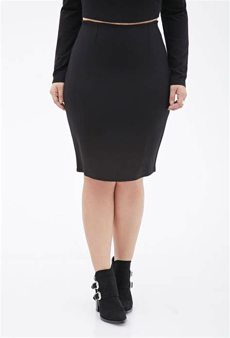 stretch knit pencil skirt forever 21 plus size stretch knit pencil skirt in black lyst