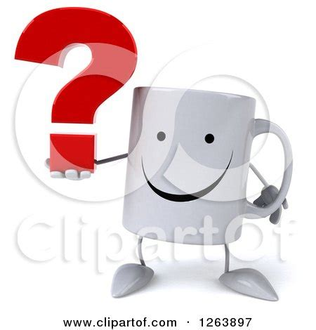 Mug Lucu Kode Happy Animals Mug clipart of a 3d happy coffee mug holding a question