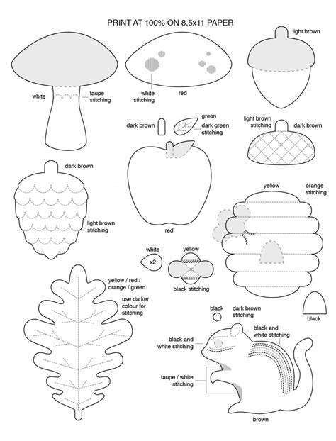 felt templates for 6 best images of printable woodland animal patterns
