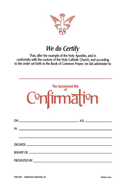 confirmation certificates templates churchpublishing org confirmation certificate